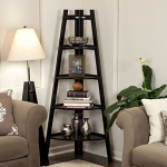 nailless wall shelves Five Tier Espresso Corner Ladder Bookshelf