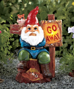 inappropriate garden gnomes that says go away
