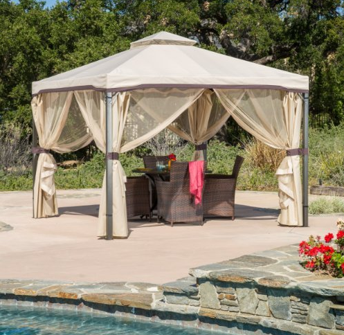 mosquito netting for patio umbrella Gazebo Canopy Umbrella with Net Drapery