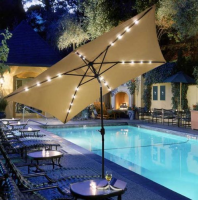 rectangular patio umbrella with solar lights Rectangular Outdoor Umbrella with Solar LED Lights