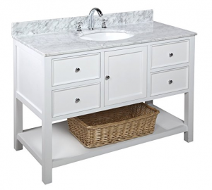 White Open Bathroom Vanity with Baskets