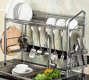 over the sink shelf with paper towel holder Over The Sink Shelf Organizer
